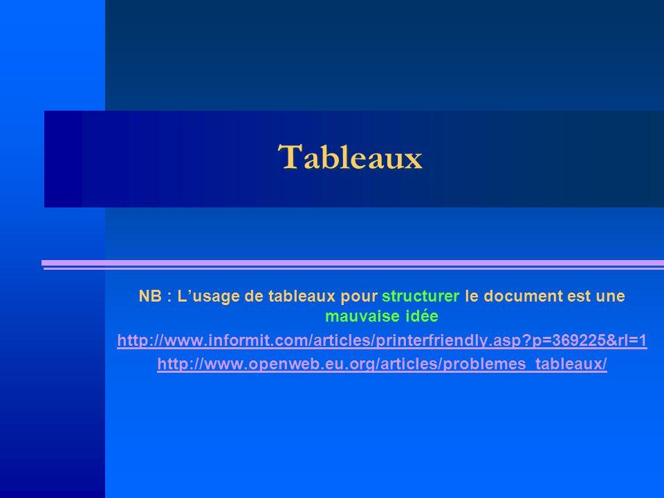 Tableaux NB : Lusage de tableaux pour structurer le document est une mauvaise idée http://www.informit.com/articles/printerfriendly.asp?p=369225&rl=1 http://www.openweb.eu.org/articles/problemes_tableaux/