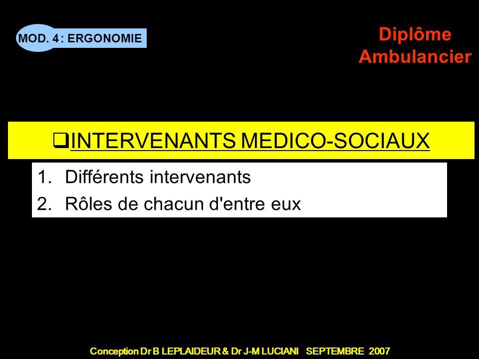 : ERGONOMIE Conception Dr B LEPLAIDEUR & Dr J-M LUCIANI SEPTEMBRE 2007 MOD.