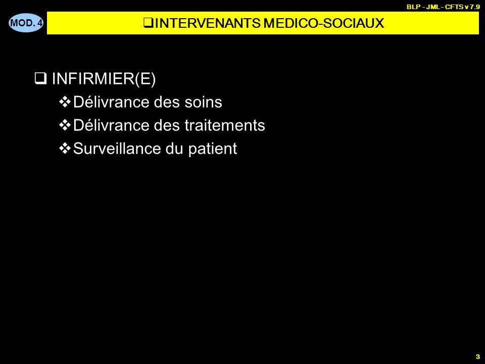 MOD. 4 BLP - JML - CFTS v 7.9 3 INFIRMIER(E) Délivrance des soins Délivrance des traitements Surveillance du patient INTERVENANTS MEDICO-SOCIAUX