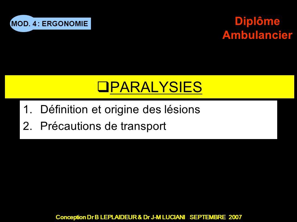 : ERGONOMIE Conception Dr B LEPLAIDEUR & Dr J-M LUCIANI SEPTEMBRE 2007 MOD. 4 Diplôme Ambulancier TITRE DE CHAPITRE PARALYSIES 1.Définition et origine