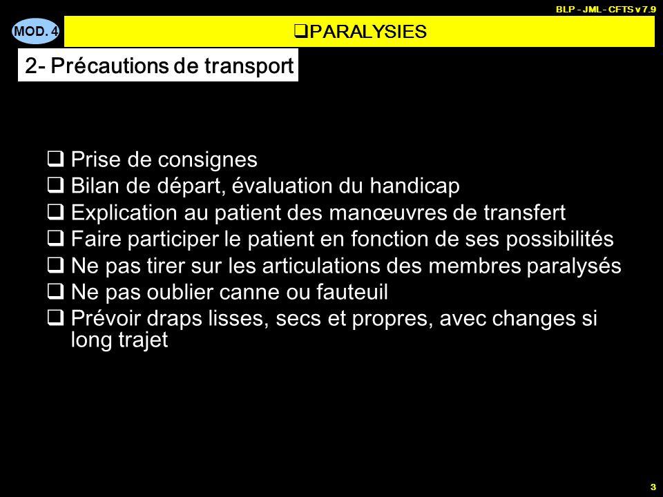 MOD. 4 BLP - JML - CFTS v 7.9 3 Prise de consignes Bilan de départ, évaluation du handicap Explication au patient des manœuvres de transfert Faire par