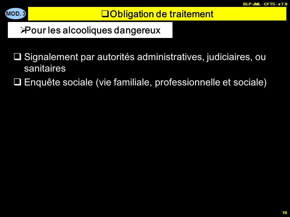 MOD. 3 BLP-JML - CFTS - v 7.9 10 Obligation de traitement Signalement par autorités administratives, judiciaires, ou sanitaires Enquête sociale (vie f