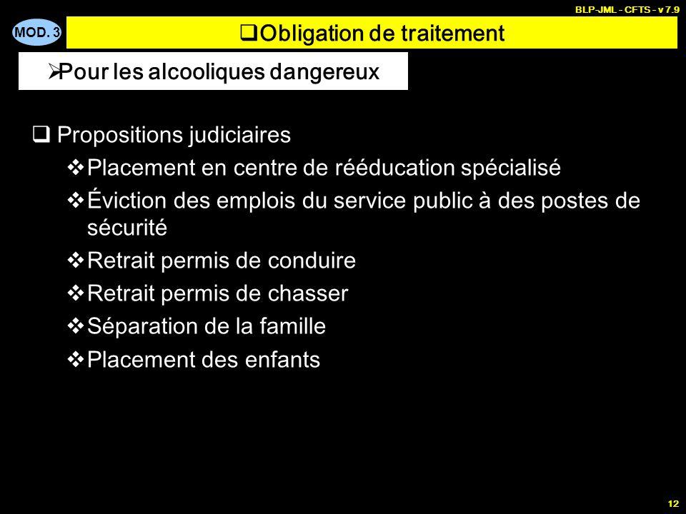 MOD. 3 BLP-JML - CFTS - v 7.9 12 Obligation de traitement Propositions judiciaires Placement en centre de rééducation spécialisé Éviction des emplois