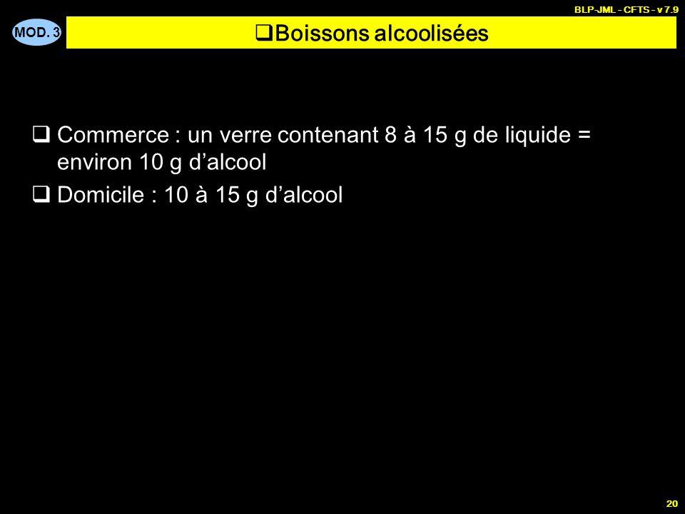 MOD. 3 BLP-JML - CFTS - v 7.9 20 Boissons alcoolisées Commerce : un verre contenant 8 à 15 g de liquide = environ 10 g dalcool Domicile : 10 à 15 g da