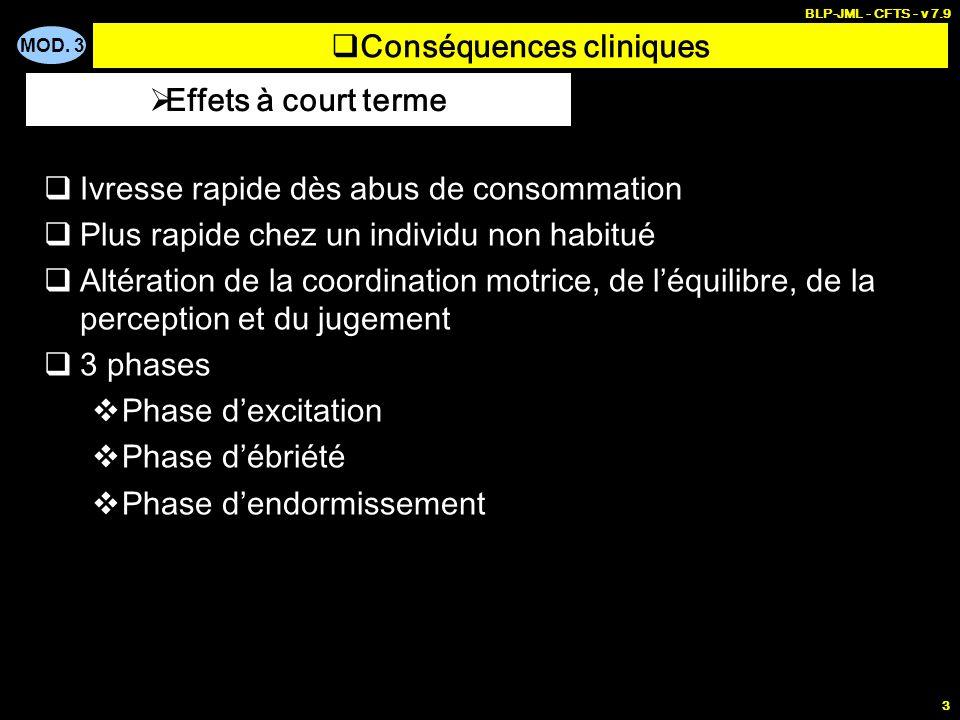MOD. 3 BLP-JML - CFTS - v 7.9 3 Conséquences cliniques Ivresse rapide dès abus de consommation Plus rapide chez un individu non habitué Altération de