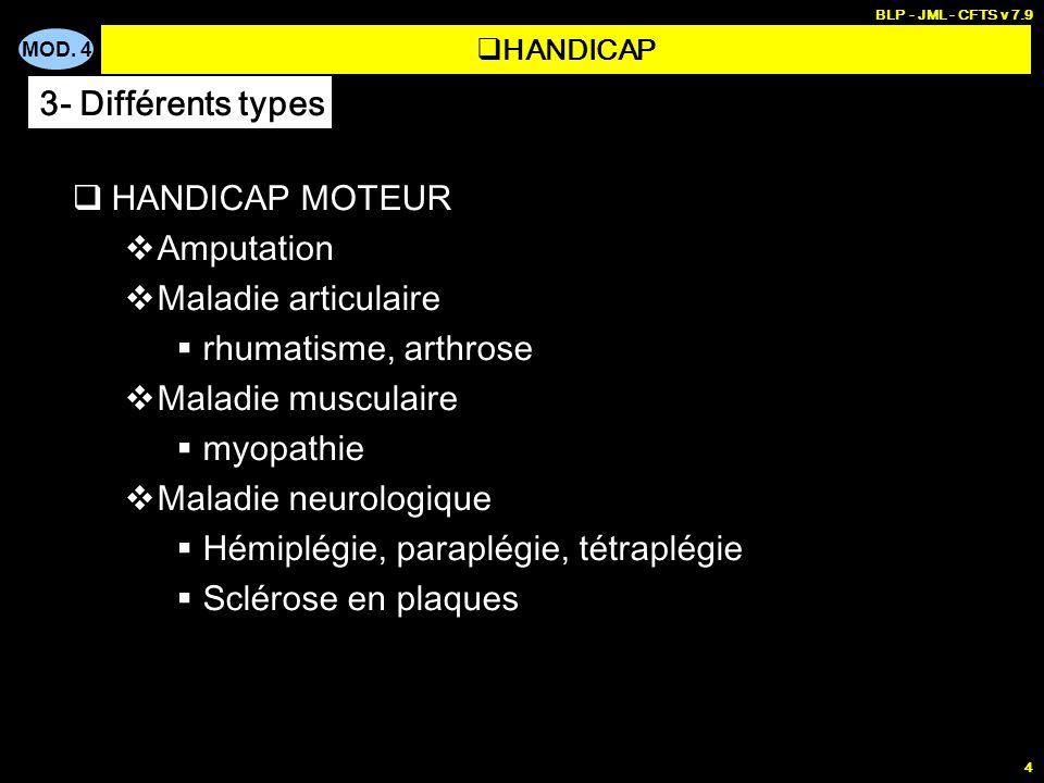 MOD. 4 BLP - JML - CFTS v 7.9 4 HANDICAP MOTEUR Amputation Maladie articulaire rhumatisme, arthrose Maladie musculaire myopathie Maladie neurologique