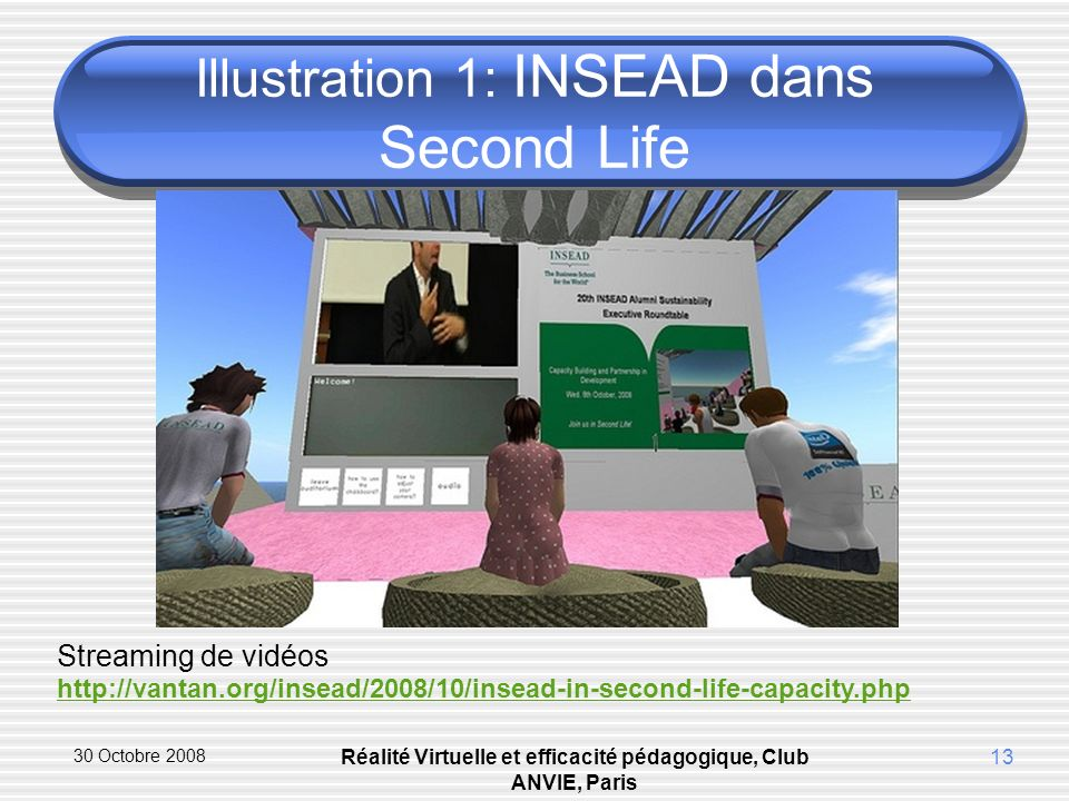 30 Octobre 2008 Réalité Virtuelle et efficacité pédagogique, Club ANVIE, Paris 13 Illustration 1: INSEAD dans Second Life Streaming de vidéos http://vantan.org/insead/2008/10/insead-in-second-life-capacity.php