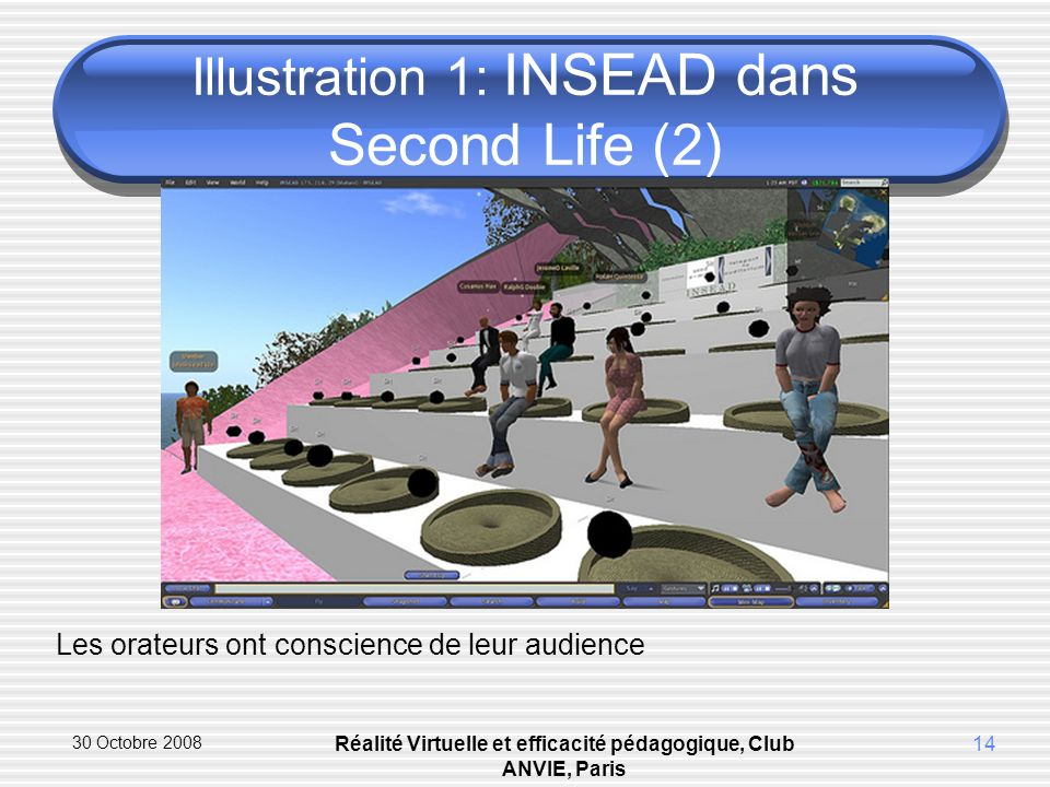 30 Octobre 2008 Réalité Virtuelle et efficacité pédagogique, Club ANVIE, Paris 14 Illustration 1: INSEAD dans Second Life (2) Les orateurs ont conscience de leur audience