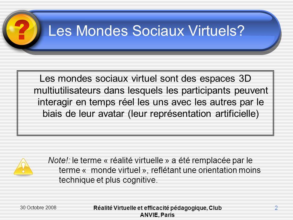 30 Octobre 2008 Réalité Virtuelle et efficacité pédagogique, Club ANVIE, Paris 2 Les Mondes Sociaux Virtuels.