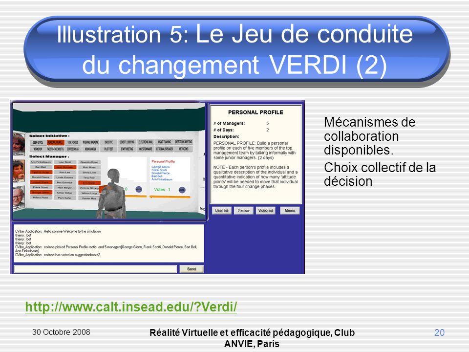30 Octobre 2008 Réalité Virtuelle et efficacité pédagogique, Club ANVIE, Paris 20 Illustration 5: Le Jeu de conduite du changement VERDI (2) Mécanismes de collaboration disponibles.
