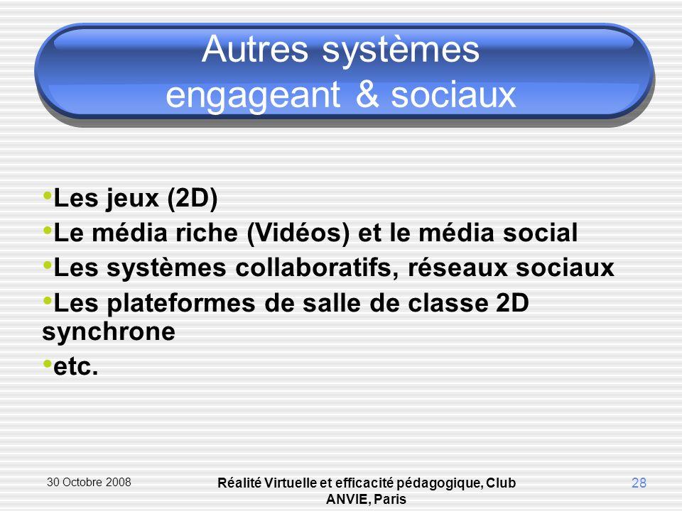 30 Octobre 2008 Réalité Virtuelle et efficacité pédagogique, Club ANVIE, Paris 28 Autres systèmes engageant & sociaux Les jeux (2D) Le média riche (Vidéos) et le média social Les systèmes collaboratifs, réseaux sociaux Les plateformes de salle de classe 2D synchrone etc.