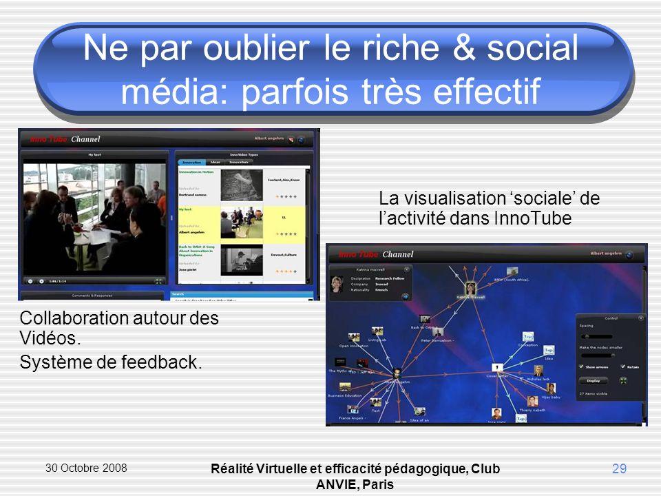 30 Octobre 2008 Réalité Virtuelle et efficacité pédagogique, Club ANVIE, Paris 29 Ne par oublier le riche & social média: parfois très effectif La visualisation sociale de lactivité dans InnoTube Collaboration autour des Vidéos.
