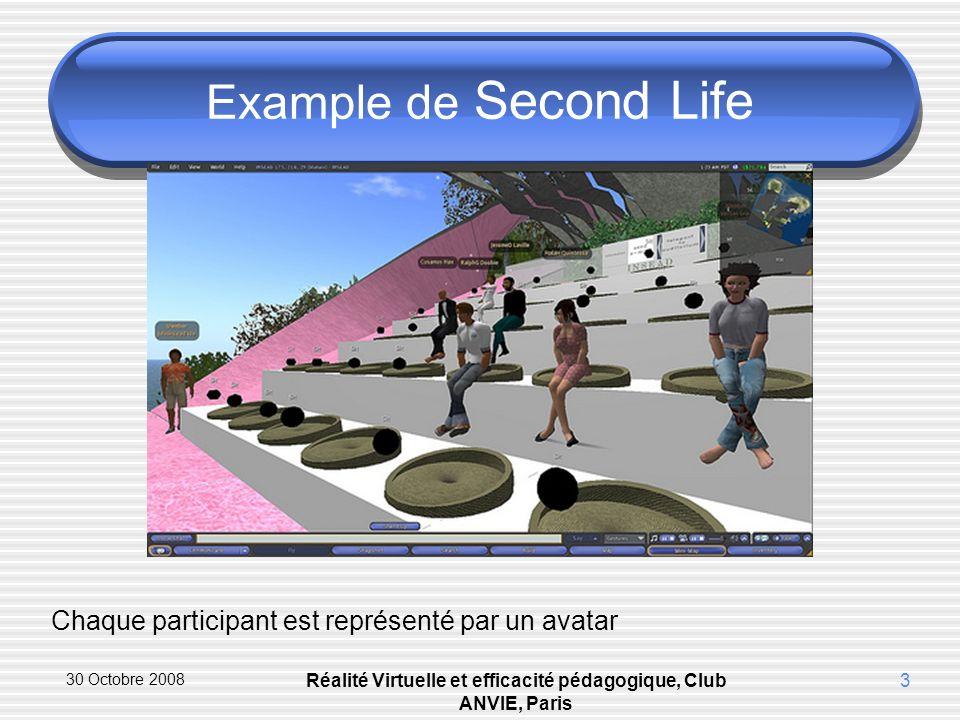 30 Octobre 2008 Réalité Virtuelle et efficacité pédagogique, Club ANVIE, Paris 3 Example de Second Life Chaque participant est représenté par un avatar