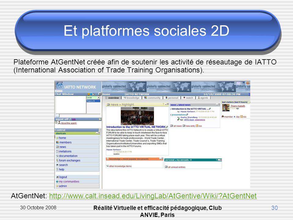 30 Octobre 2008 Réalité Virtuelle et efficacité pédagogique, Club ANVIE, Paris 30 Et platformes sociales 2D Plateforme AtGentNet créée afin de soutenir les activité de réseautage de IATTO (International Association of Trade Training Organisations).