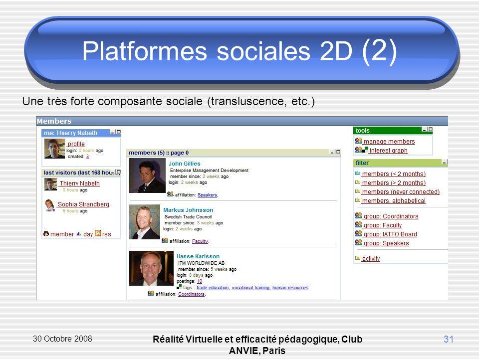 30 Octobre 2008 Réalité Virtuelle et efficacité pédagogique, Club ANVIE, Paris 31 Platformes sociales 2D (2) Une très forte composante sociale (transluscence, etc.)