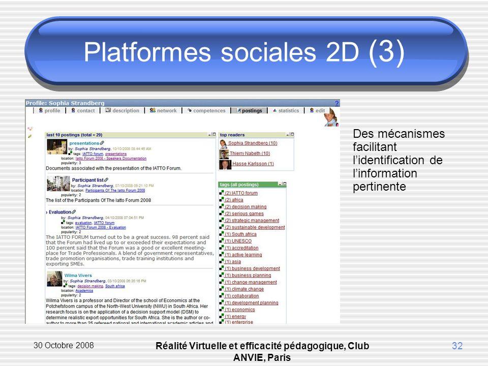 30 Octobre 2008 Réalité Virtuelle et efficacité pédagogique, Club ANVIE, Paris 32 Platformes sociales 2D (3) Des mécanismes facilitant lidentification