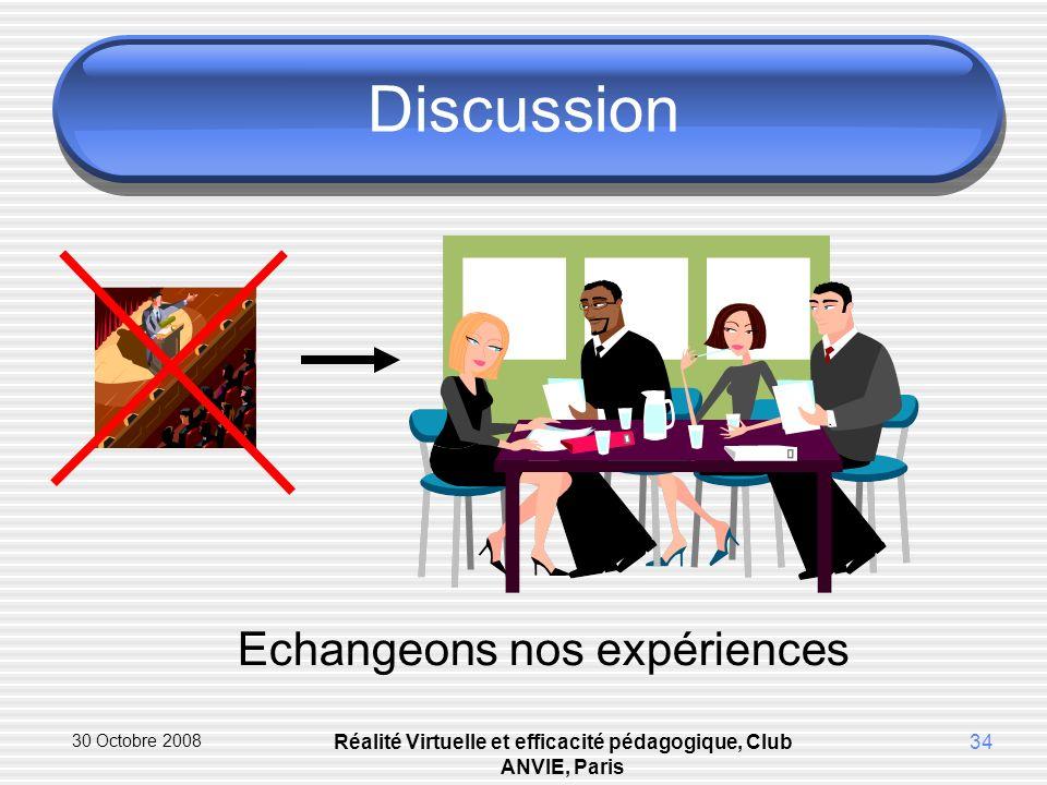 30 Octobre 2008 Réalité Virtuelle et efficacité pédagogique, Club ANVIE, Paris 34 Discussion Echangeons nos expériences