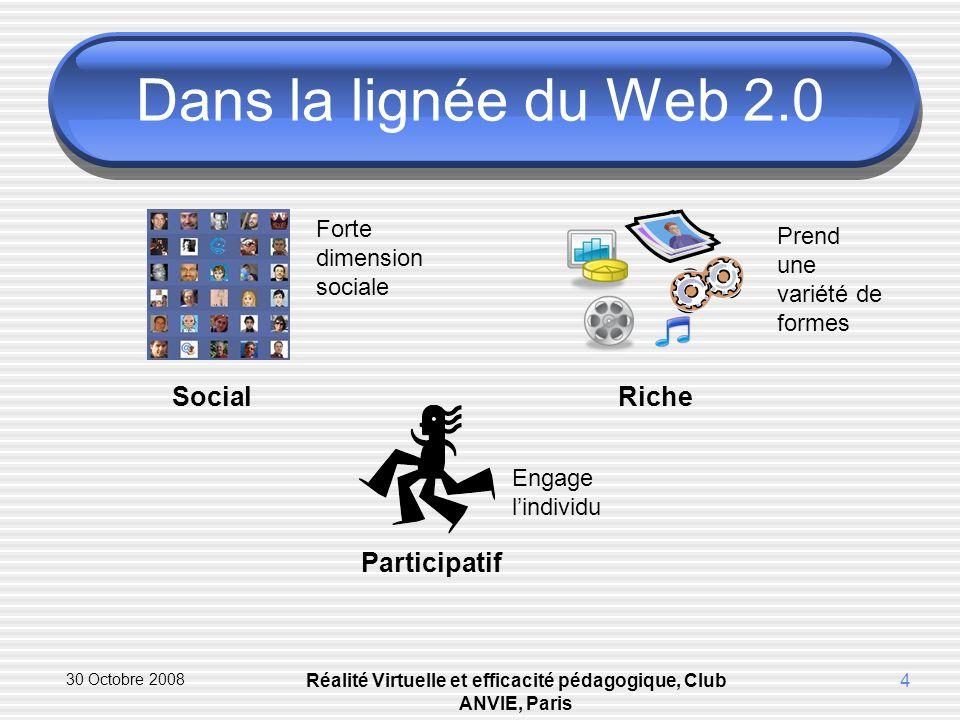30 Octobre 2008 Réalité Virtuelle et efficacité pédagogique, Club ANVIE, Paris 4 Dans la lignée du Web 2.0 Social Forte dimension sociale Participatif Engage lindividu Riche Prend une variété de formes