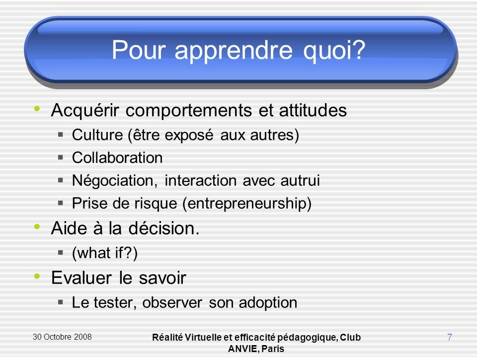 30 Octobre 2008 Réalité Virtuelle et efficacité pédagogique, Club ANVIE, Paris 7 Pour apprendre quoi.