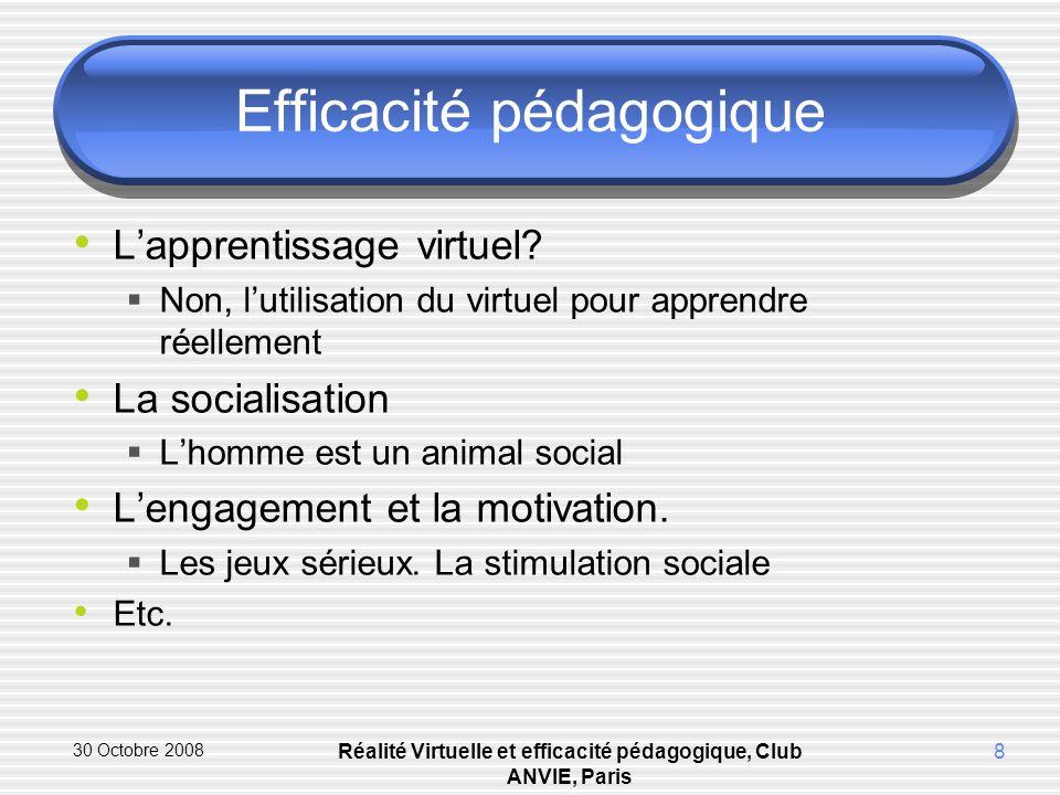 30 Octobre 2008 Réalité Virtuelle et efficacité pédagogique, Club ANVIE, Paris 8 Efficacité pédagogique Lapprentissage virtuel.