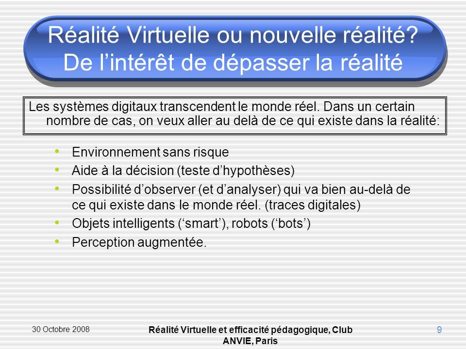 30 Octobre 2008 Réalité Virtuelle et efficacité pédagogique, Club ANVIE, Paris 9 Réalité Virtuelle ou nouvelle réalité.