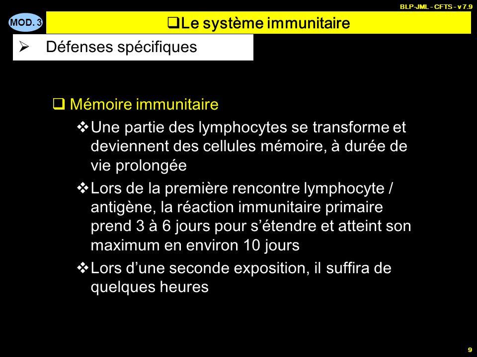 MOD. 3 BLP-JML - CFTS - v 7.9 9 Mémoire immunitaire Une partie des lymphocytes se transforme et deviennent des cellules mémoire, à durée de vie prolon