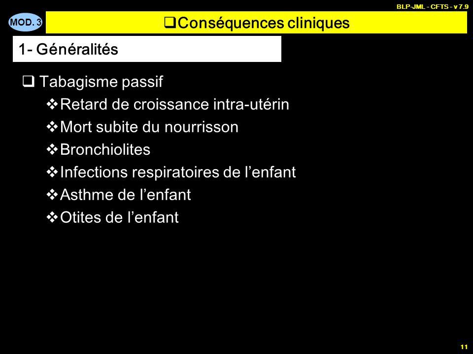 MOD. 3 BLP-JML - CFTS - v 7.9 11 Conséquences cliniques Tabagisme passif Retard de croissance intra-utérin Mort subite du nourrisson Bronchiolites Inf