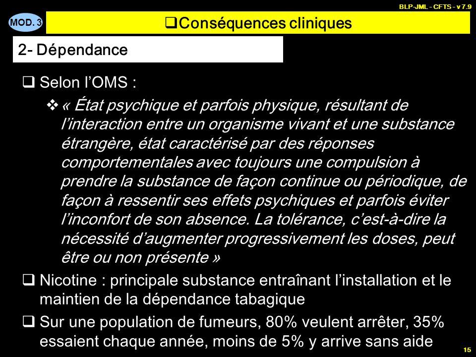 MOD. 3 BLP-JML - CFTS - v 7.9 15 Conséquences cliniques Selon lOMS : « État psychique et parfois physique, résultant de linteraction entre un organism