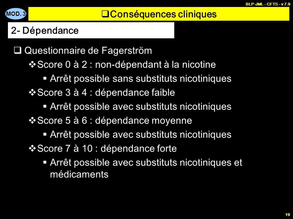 MOD. 3 BLP-JML - CFTS - v 7.9 19 Conséquences cliniques Questionnaire de Fagerström Score 0 à 2 : non-dépendant à la nicotine Arrêt possible sans subs