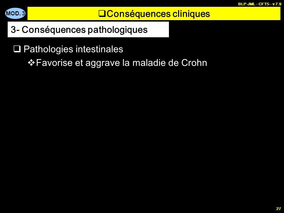 MOD. 3 BLP-JML - CFTS - v 7.9 27 Conséquences cliniques Pathologies intestinales Favorise et aggrave la maladie de Crohn 3- Conséquences pathologiques