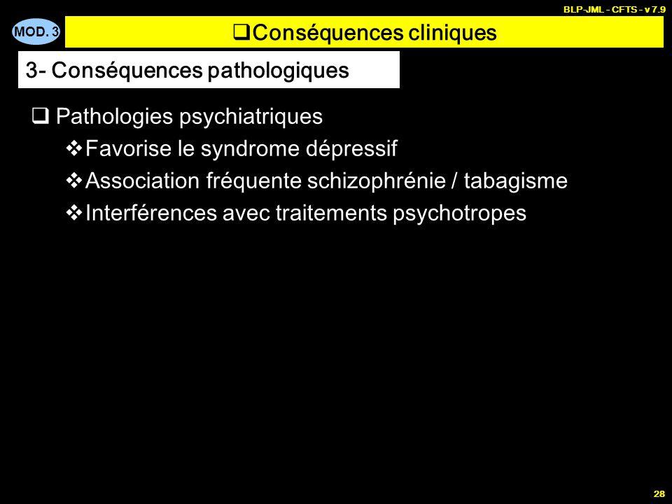 MOD. 3 BLP-JML - CFTS - v 7.9 28 Conséquences cliniques Pathologies psychiatriques Favorise le syndrome dépressif Association fréquente schizophrénie