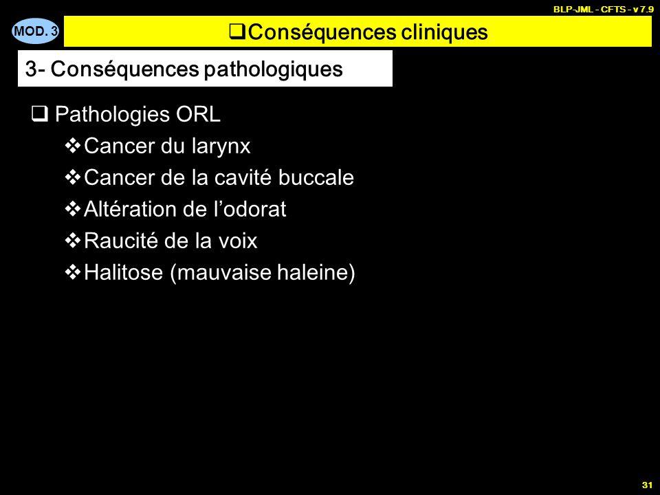MOD. 3 BLP-JML - CFTS - v 7.9 31 Conséquences cliniques Pathologies ORL Cancer du larynx Cancer de la cavité buccale Altération de lodorat Raucité de