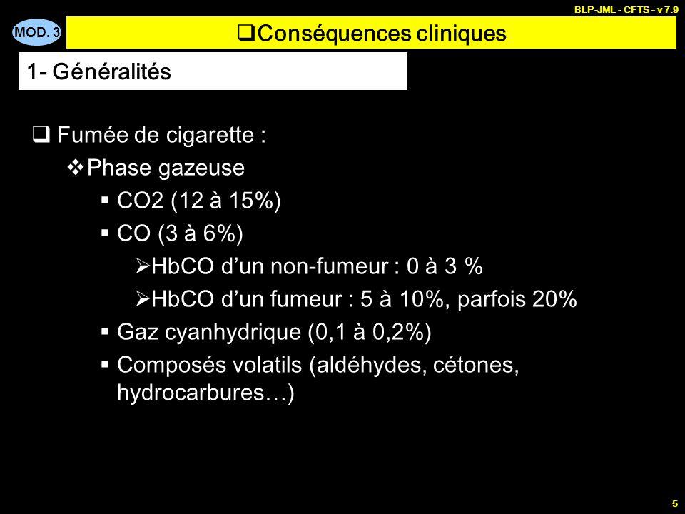 MOD. 3 BLP-JML - CFTS - v 7.9 5 Conséquences cliniques Fumée de cigarette : Phase gazeuse CO2 (12 à 15%) CO (3 à 6%) HbCO dun non-fumeur : 0 à 3 % HbC