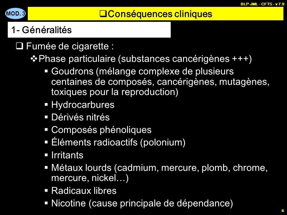 MOD. 3 BLP-JML - CFTS - v 7.9 6 Conséquences cliniques Fumée de cigarette : Phase particulaire (substances cancérigènes +++) Goudrons (mélange complex