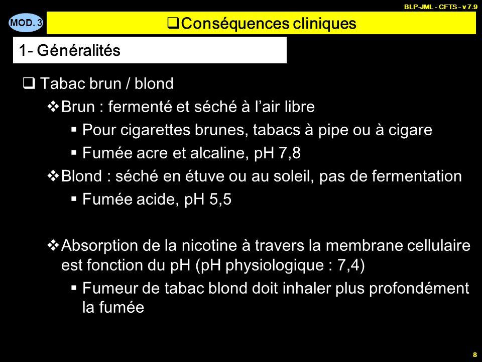 MOD. 3 BLP-JML - CFTS - v 7.9 8 Conséquences cliniques Tabac brun / blond Brun : fermenté et séché à lair libre Pour cigarettes brunes, tabacs à pipe