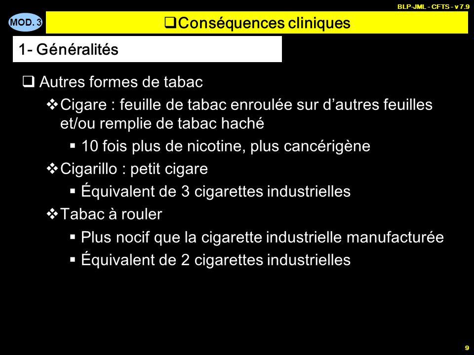 MOD. 3 BLP-JML - CFTS - v 7.9 9 Conséquences cliniques Autres formes de tabac Cigare : feuille de tabac enroulée sur dautres feuilles et/ou remplie de