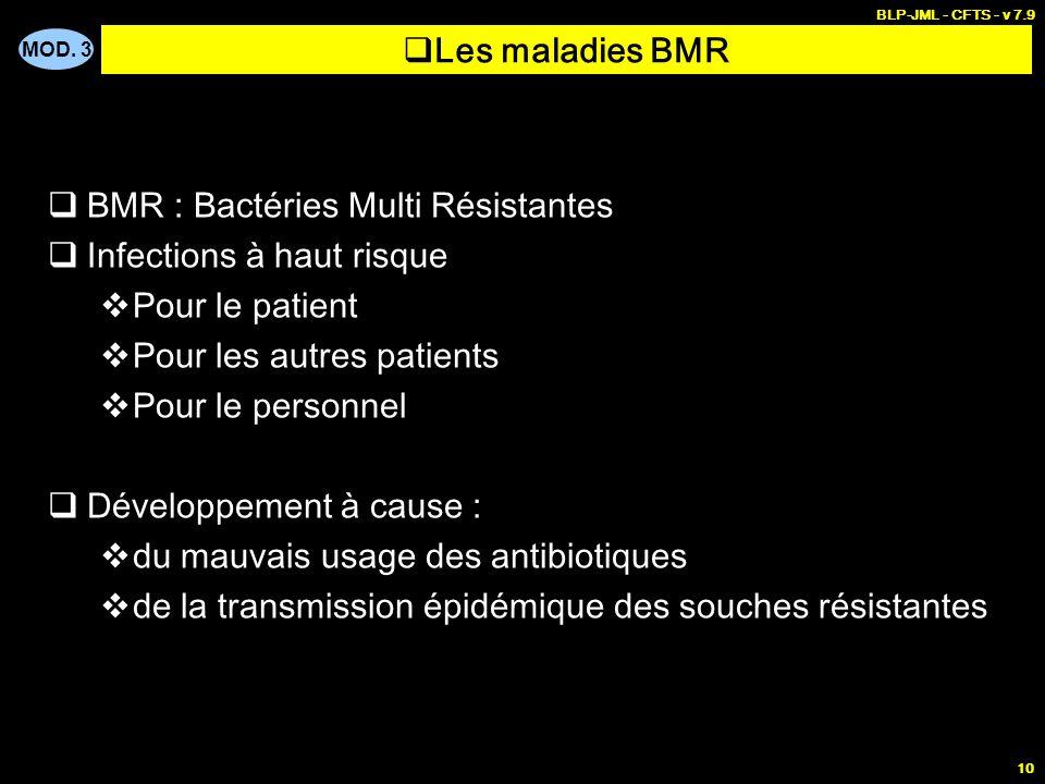 MOD. 3 BLP-JML - CFTS - v 7.9 10 Les maladies BMR BMR : Bactéries Multi Résistantes Infections à haut risque Pour le patient Pour les autres patients