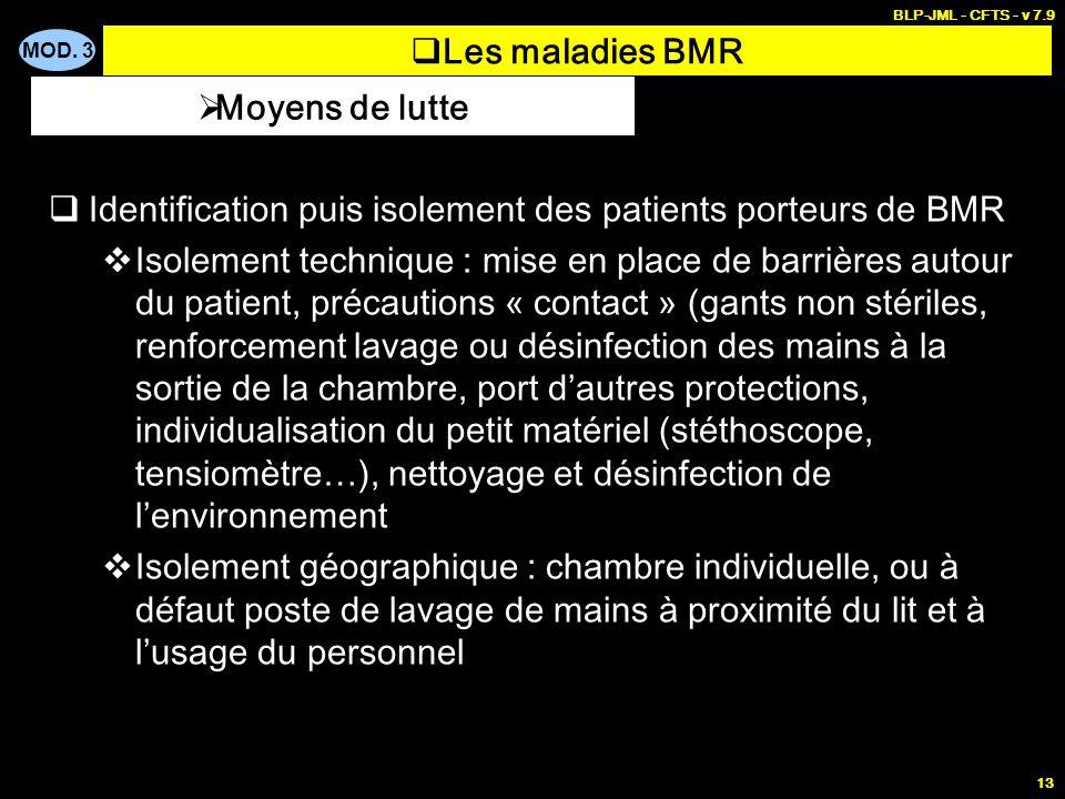 MOD. 3 BLP-JML - CFTS - v 7.9 13 Les maladies BMR Identification puis isolement des patients porteurs de BMR Isolement technique : mise en place de ba