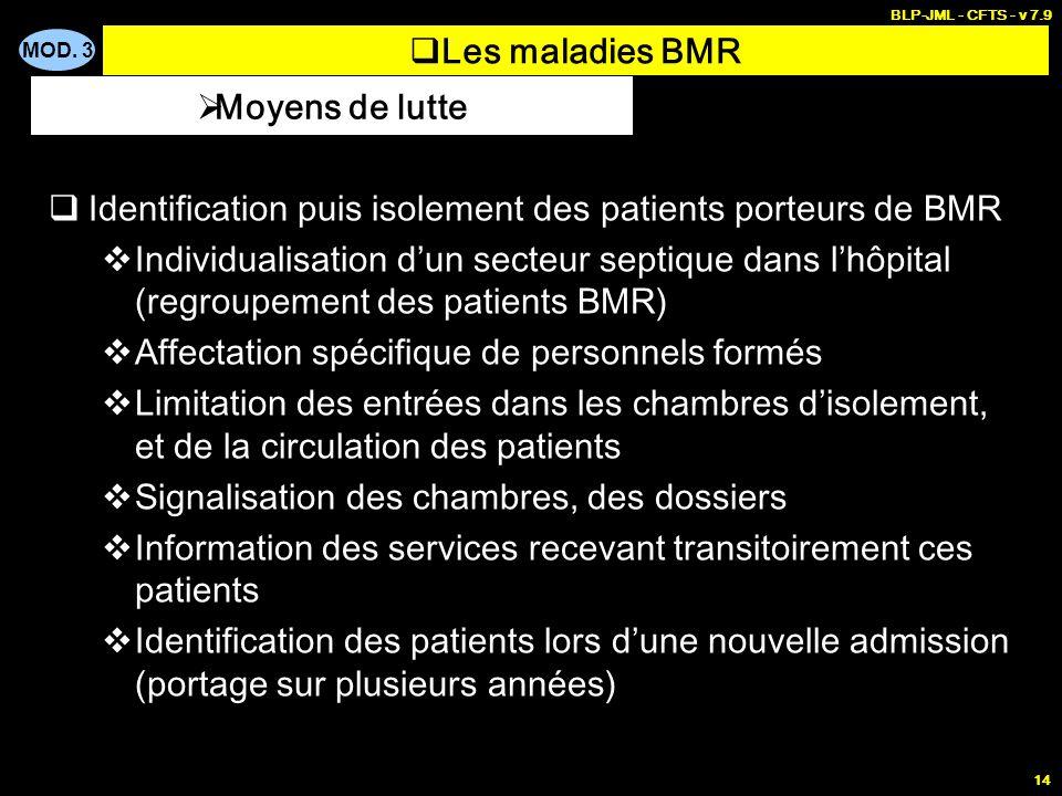 MOD. 3 BLP-JML - CFTS - v 7.9 14 Les maladies BMR Identification puis isolement des patients porteurs de BMR Individualisation dun secteur septique da
