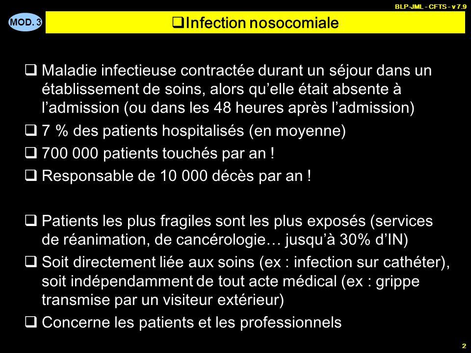 MOD. 3 BLP-JML - CFTS - v 7.9 2 Infection nosocomiale Maladie infectieuse contractée durant un séjour dans un établissement de soins, alors quelle éta