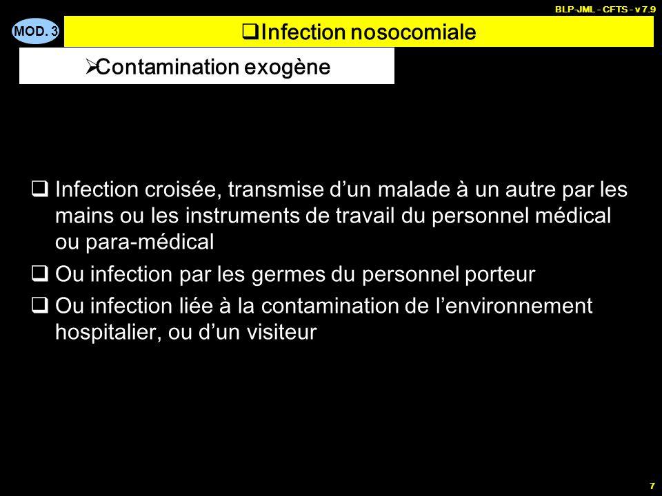 MOD. 3 BLP-JML - CFTS - v 7.9 7 Infection nosocomiale Infection croisée, transmise dun malade à un autre par les mains ou les instruments de travail d