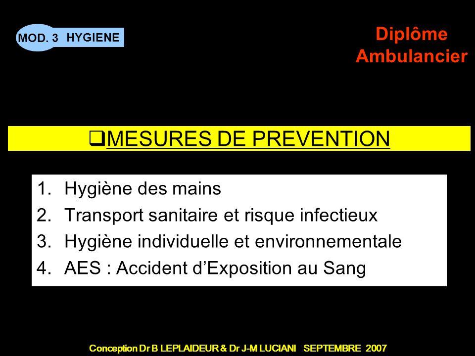 Conception Dr B LEPLAIDEUR & Dr J-M LUCIANI SEPTEMBRE 2007 HYGIENE MOD. 3 Diplôme Ambulancier TITRE DE CHAPITRE MESURES DE PREVENTION 1.Hygiène des ma