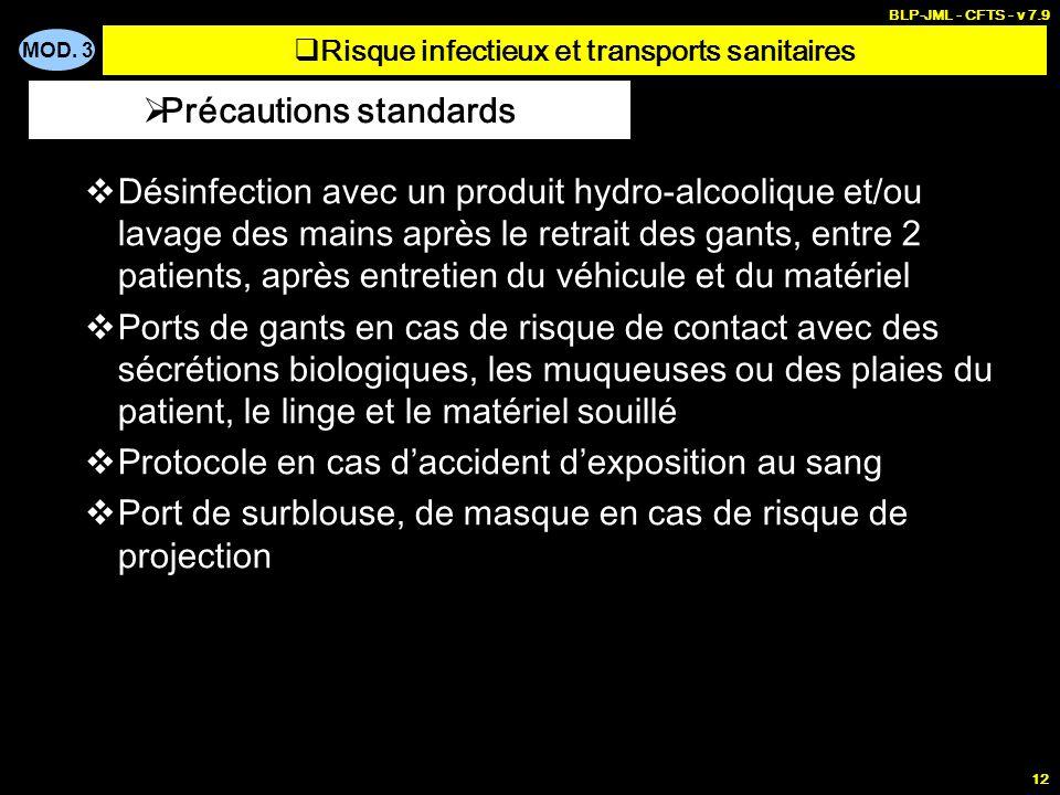 MOD. 3 BLP-JML - CFTS - v 7.9 12 Désinfection avec un produit hydro-alcoolique et/ou lavage des mains après le retrait des gants, entre 2 patients, ap