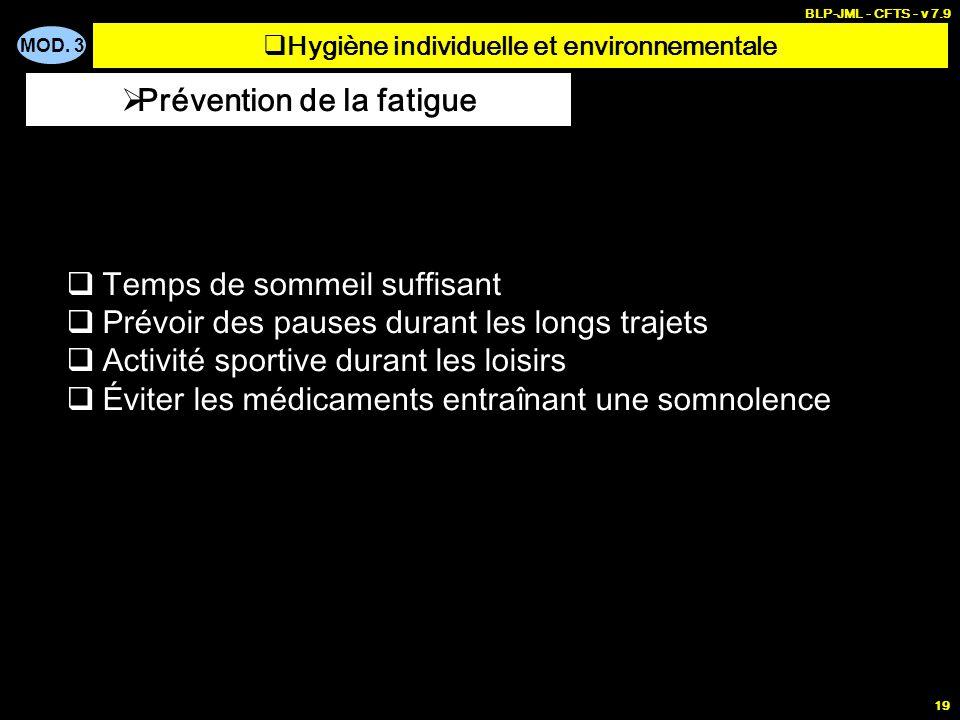 MOD. 3 BLP-JML - CFTS - v 7.9 19 Temps de sommeil suffisant Prévoir des pauses durant les longs trajets Activité sportive durant les loisirs Éviter le