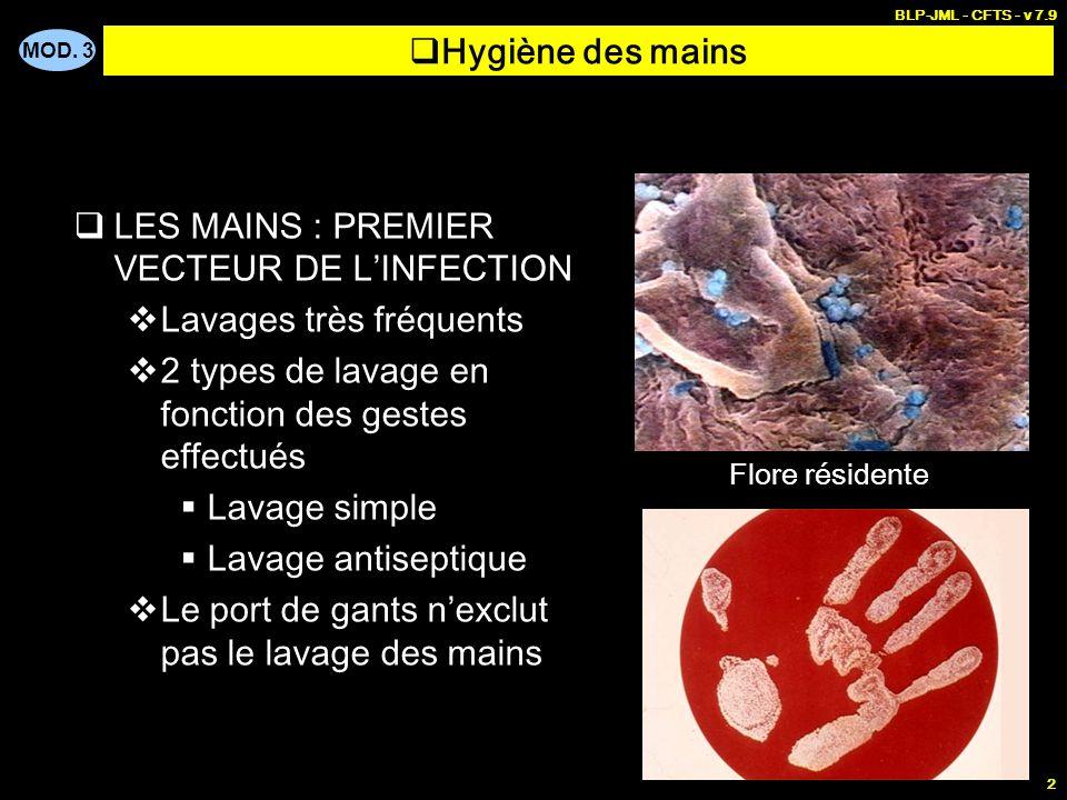 MOD. 3 BLP-JML - CFTS - v 7.9 2 LES MAINS : PREMIER VECTEUR DE LINFECTION Lavages très fréquents 2 types de lavage en fonction des gestes effectués La