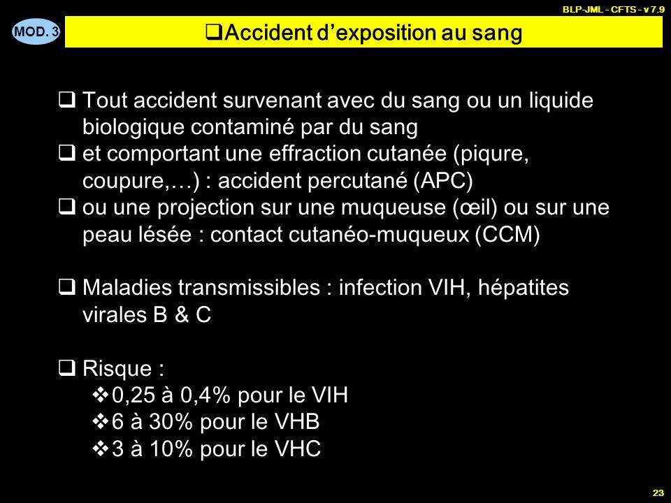 MOD. 3 BLP-JML - CFTS - v 7.9 23 Accident dexposition au sang Tout accident survenant avec du sang ou un liquide biologique contaminé par du sang et c