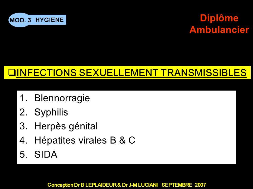 Conception Dr B LEPLAIDEUR & Dr J-M LUCIANI SEPTEMBRE 2007 HYGIENE MOD.