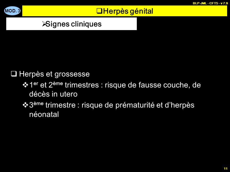 MOD. 3 BLP-JML - CFTS - v 7.9 11 Herpès génital Herpès et grossesse 1 er et 2 ème trimestres : risque de fausse couche, de décès in utero 3 ème trimes