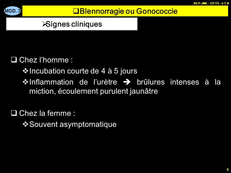 MOD. 3 BLP-JML - CFTS - v 7.9 3 Blennorragie ou Gonococcie Chez lhomme : Incubation courte de 4 à 5 jours Inflammation de lurètre brûlures intenses à