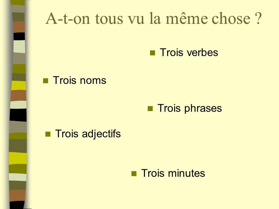 A-t-on tous vu la même chose Trois noms Trois verbes Trois phrases Trois minutes Trois adjectifs